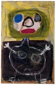 Karel Appel Hoofd en lichaam (Kopf und Körper), 1949 Gouache und Kreide auf Papier, 99,5 x 64,4 cm Erworben durch PIN. Freunde der Pinakothek der Moderne e.V. © K. Appel Foundation / VG Bild-Kunst, Bonn 2016