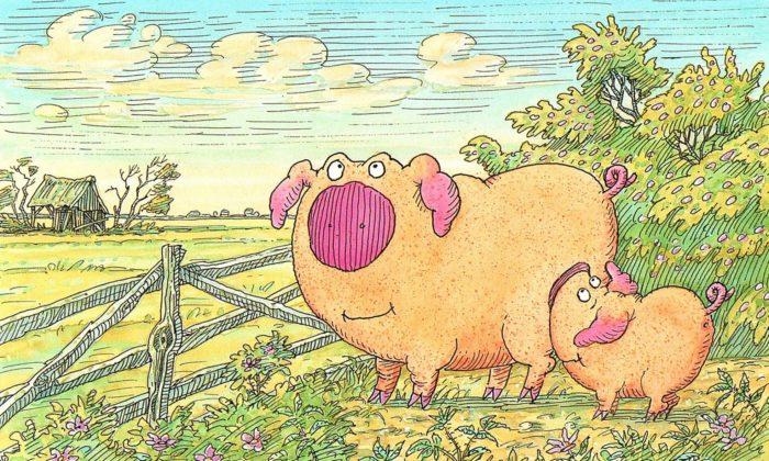 Piggeldy und Frederick auf der Wiese vor einem Zaun.